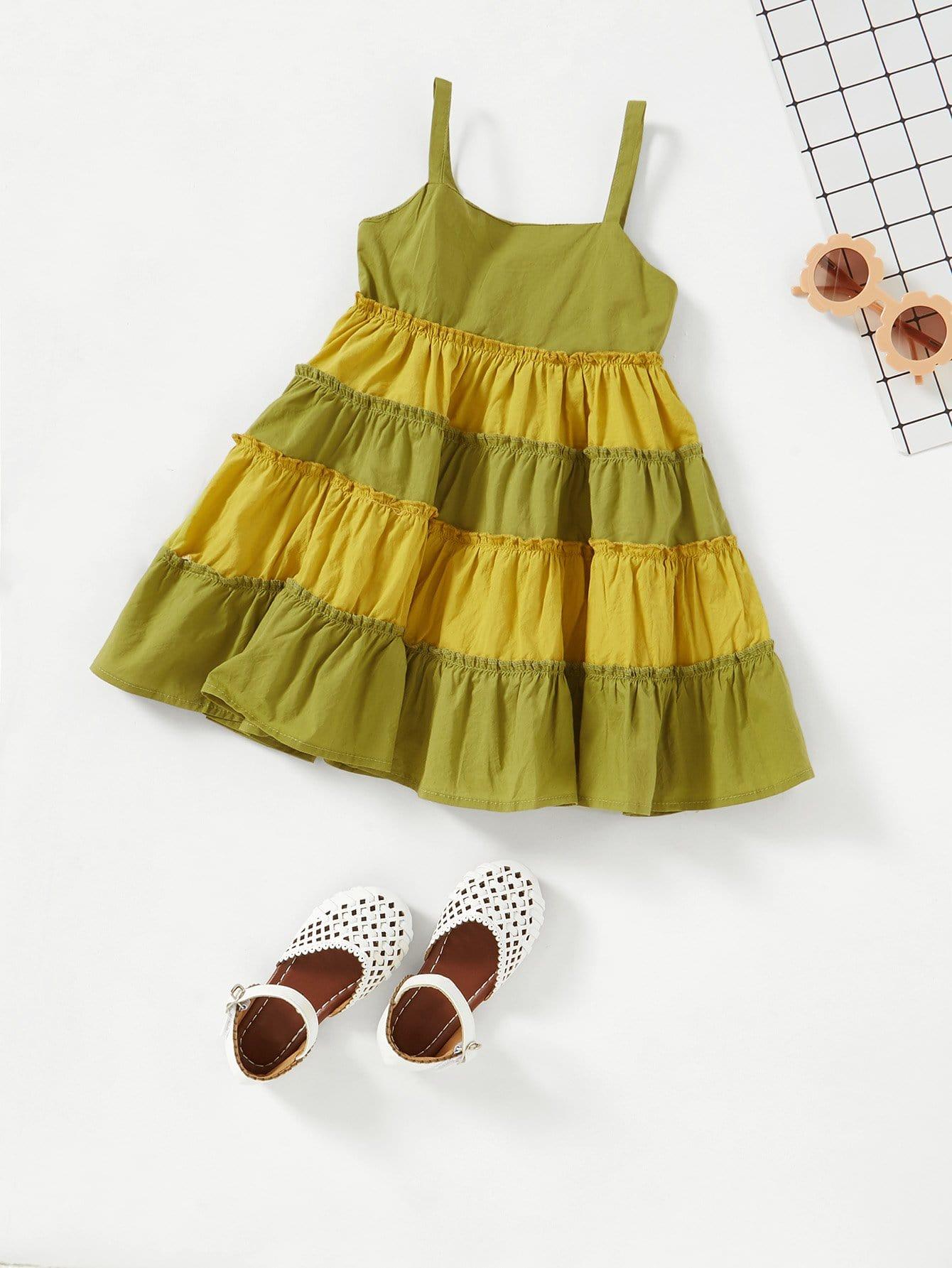все цены на Girls Frill Trim Tiered Seam Cami Dress