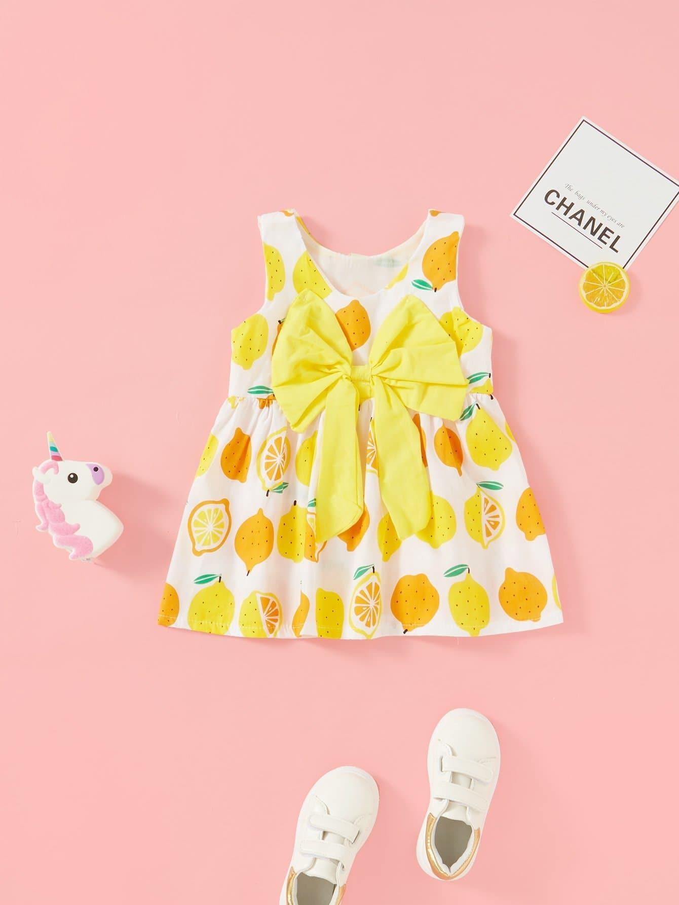 Girls Bow Back Fruit Print Dress