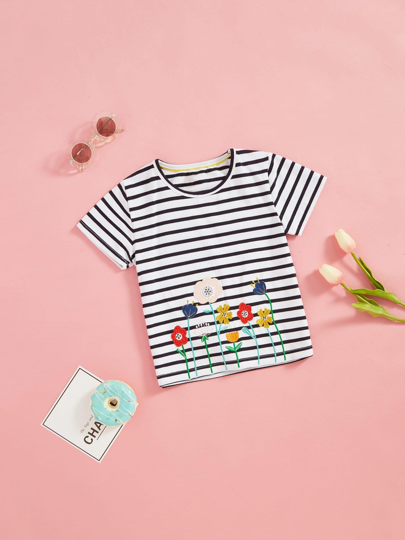 Девушки полосатый вышивка t-рубашки