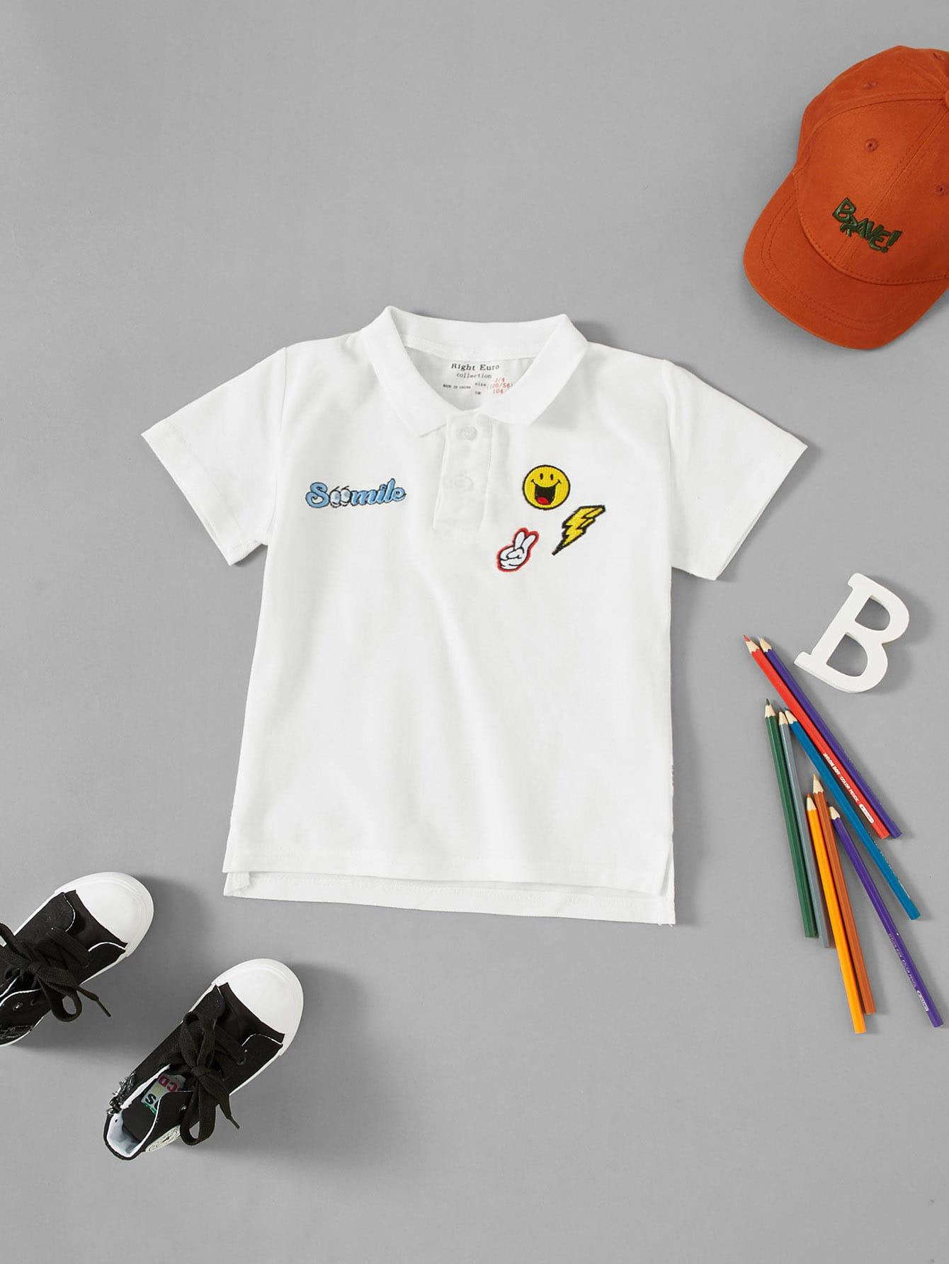Emoji Embroidered Polo Shirt emoji embroidered jeans
