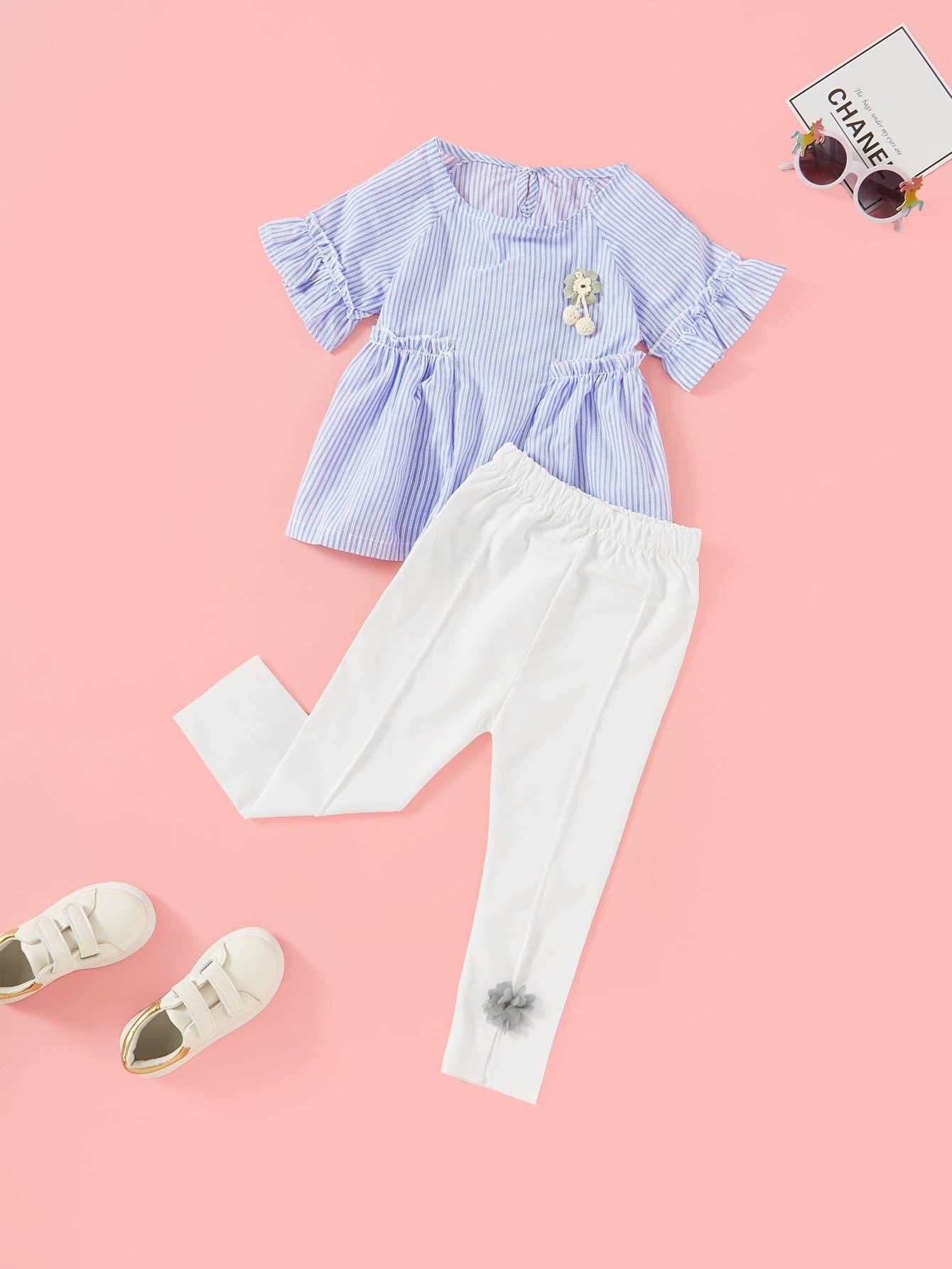 Frill Trim Striped Blouse With Pants frill trim blouse with denim skirt