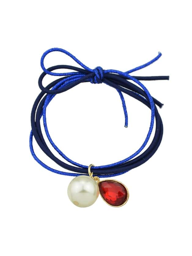 Blue Colorful Simulated Pearl Multilayers Elastic Rope Bands Accessories