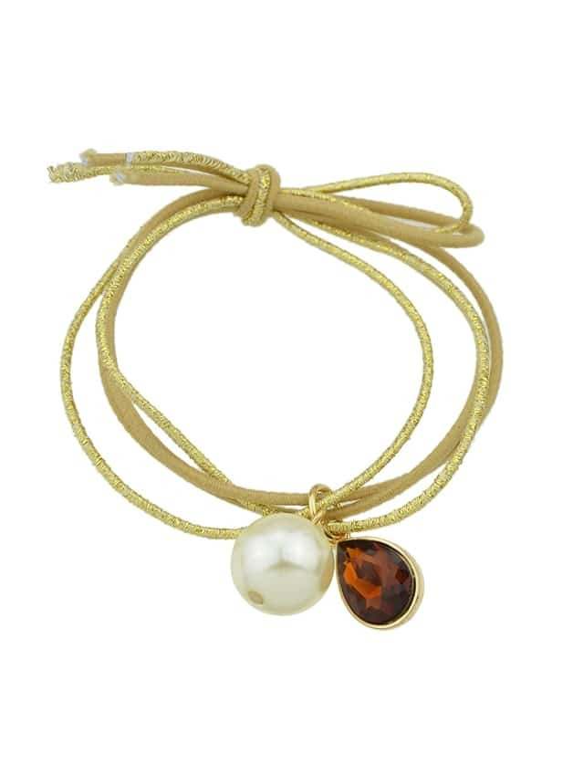 Khaki Colorful Simulated Pearl Multilayers Elastic Rope Bands Accessories