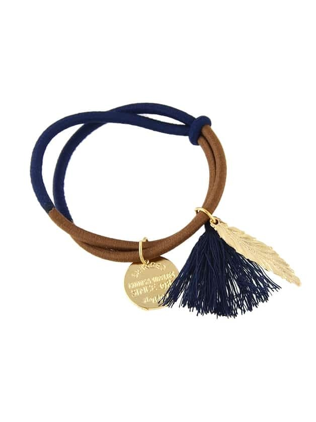 Blue Colorful Elastic Hair Bands With Leaf Coin
