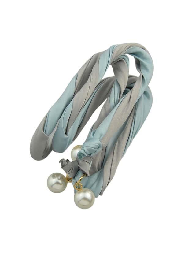 Gray Bohemian Simulated Pearl Colorful Ribbon Scarf Headbands
