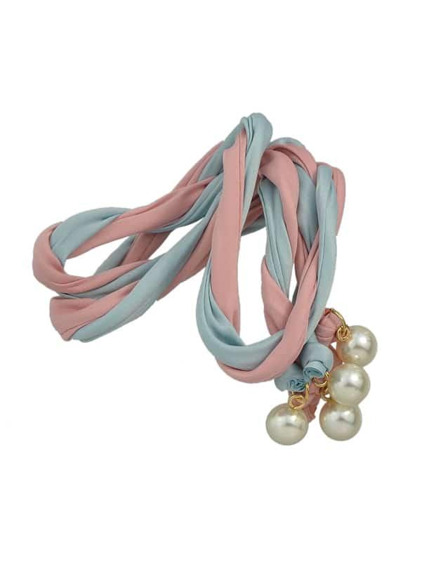 Pinkblue Bohemian Simulated Pearl Colorful Ribbon Scarf Headbands