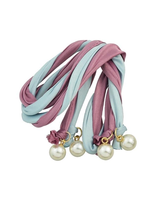 Purple Bohemian Simulated Pearl Colorful Ribbon Scarf Headbands