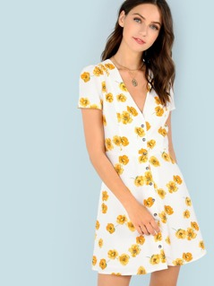 Floral Print Button Up A-Line Dress