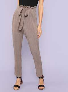 Tie Waist Elasticized Pegged Pants