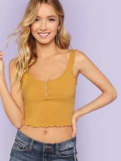 Ribbed Knit Button Crop Top