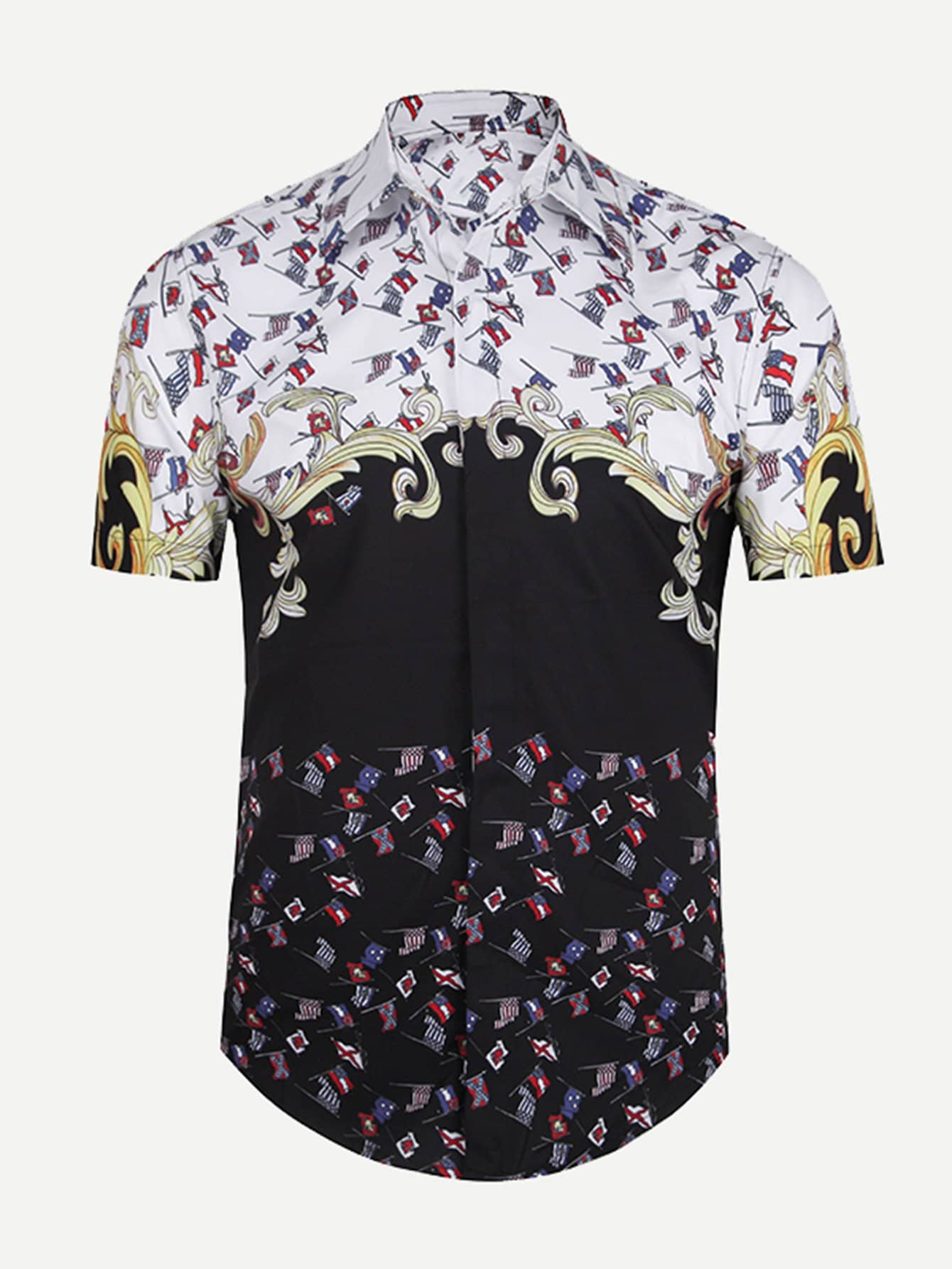 Men Flag Print Blouse men zebra print blouse