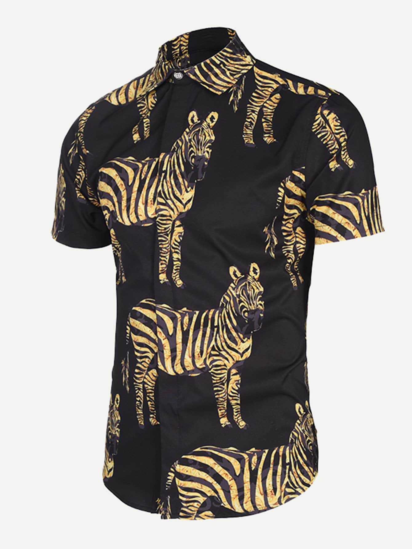Men Zebra Print Blouse men zebra print blouse