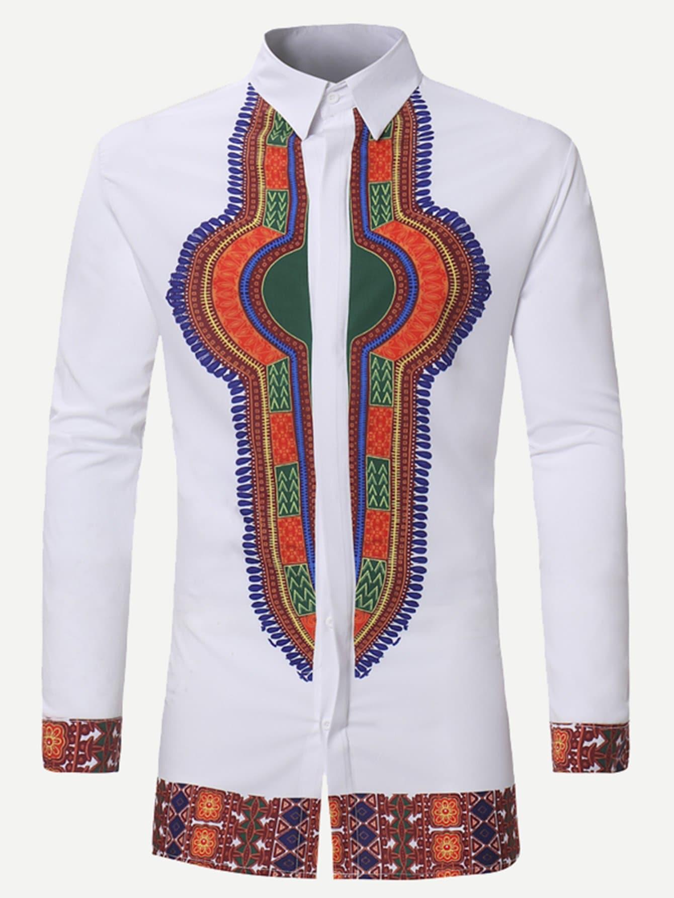 Men Ornate Print Long Blouse men zebra print blouse