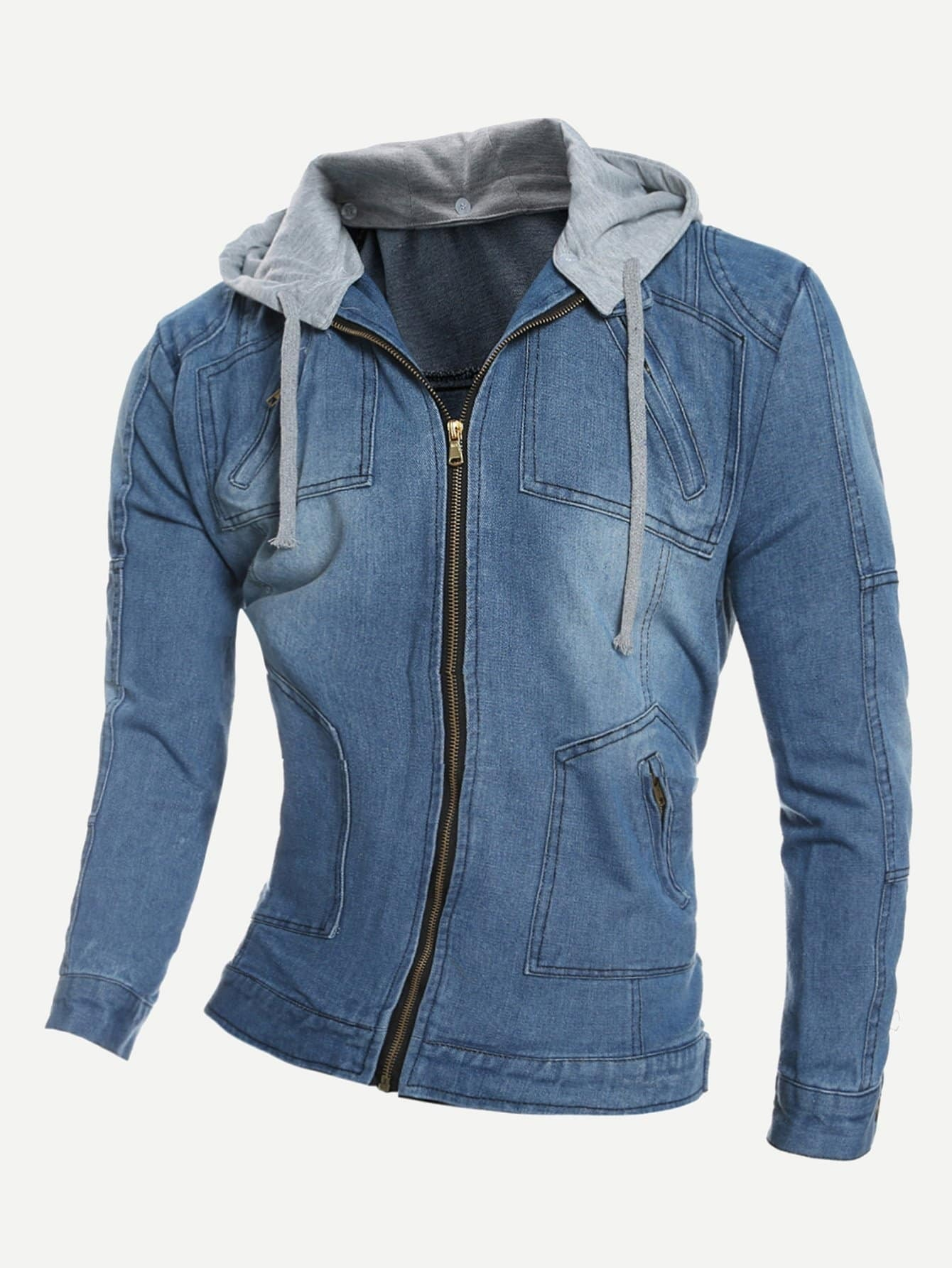 Men Hooded Denim Jacket champion hooded jacket
