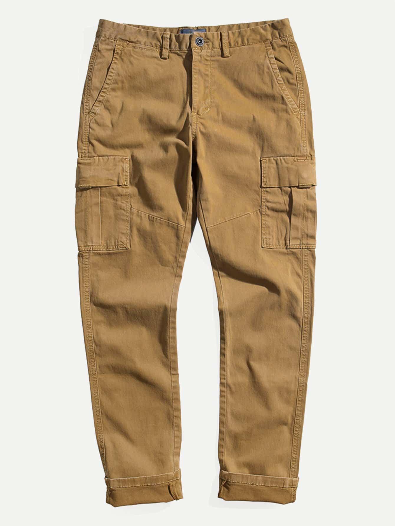 Men Pocket Decoration Plain Pants