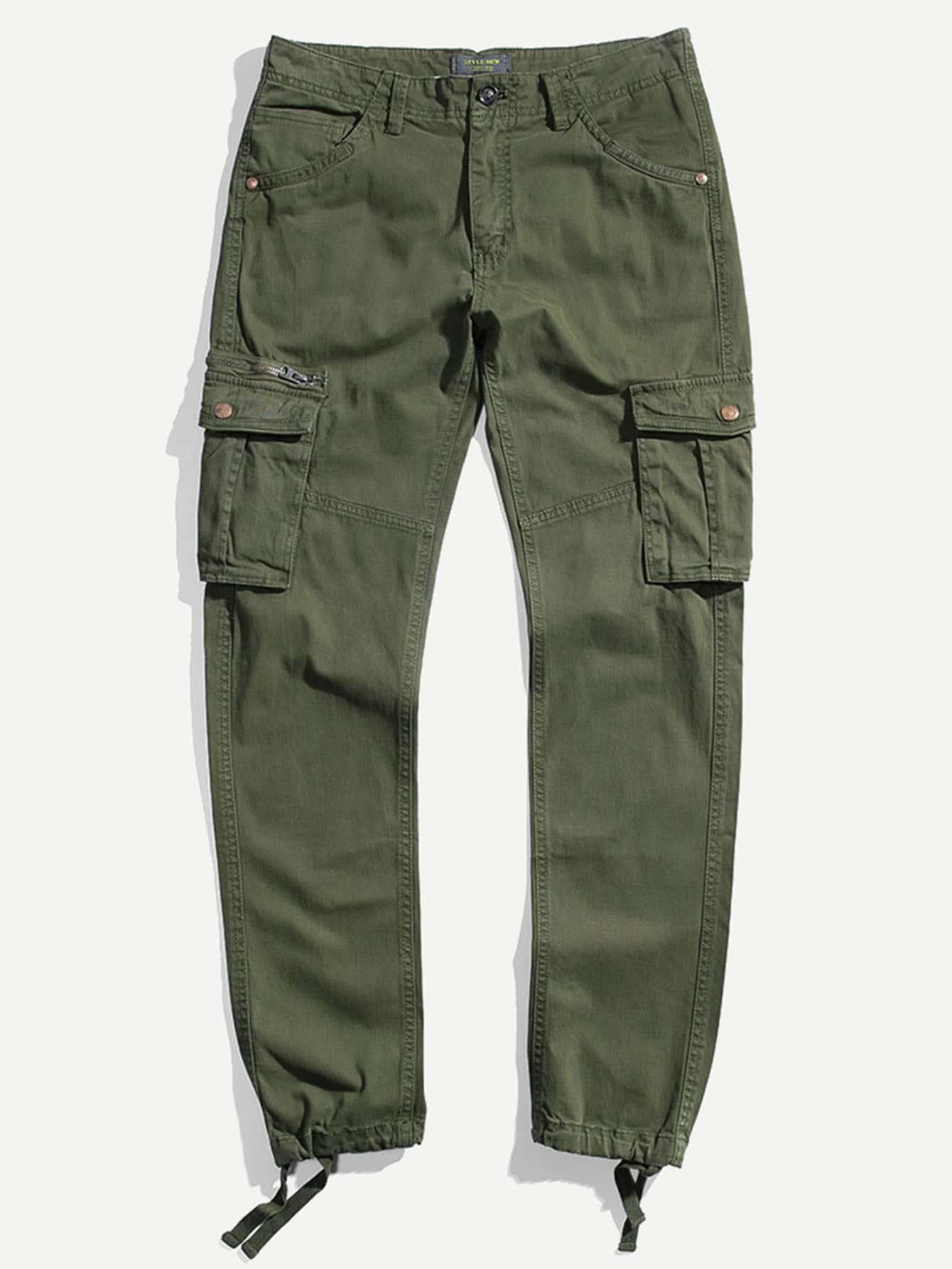 Men Pocket Decoration Elastic Foot Pants