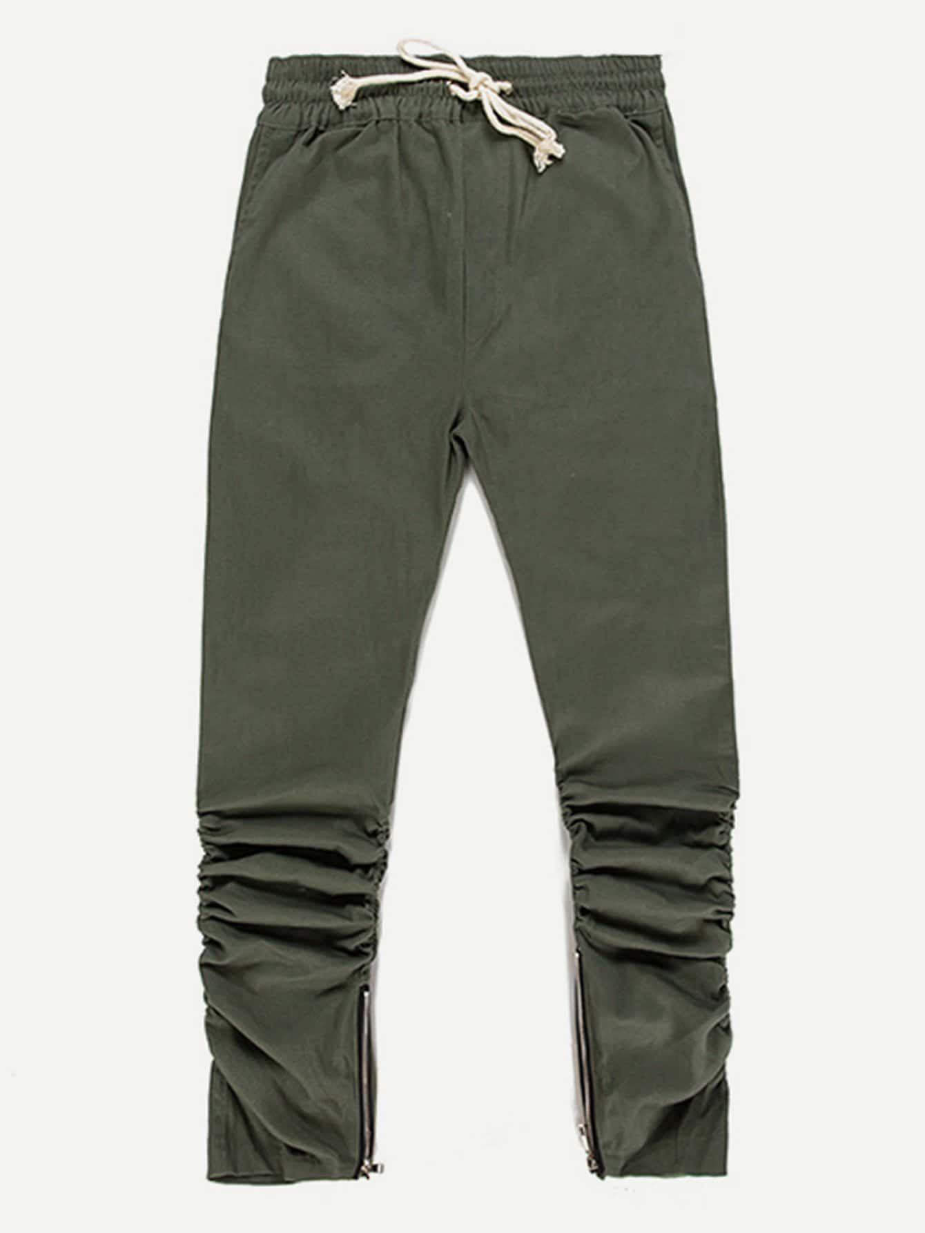 Men Zip Decoration Drawstring Pants