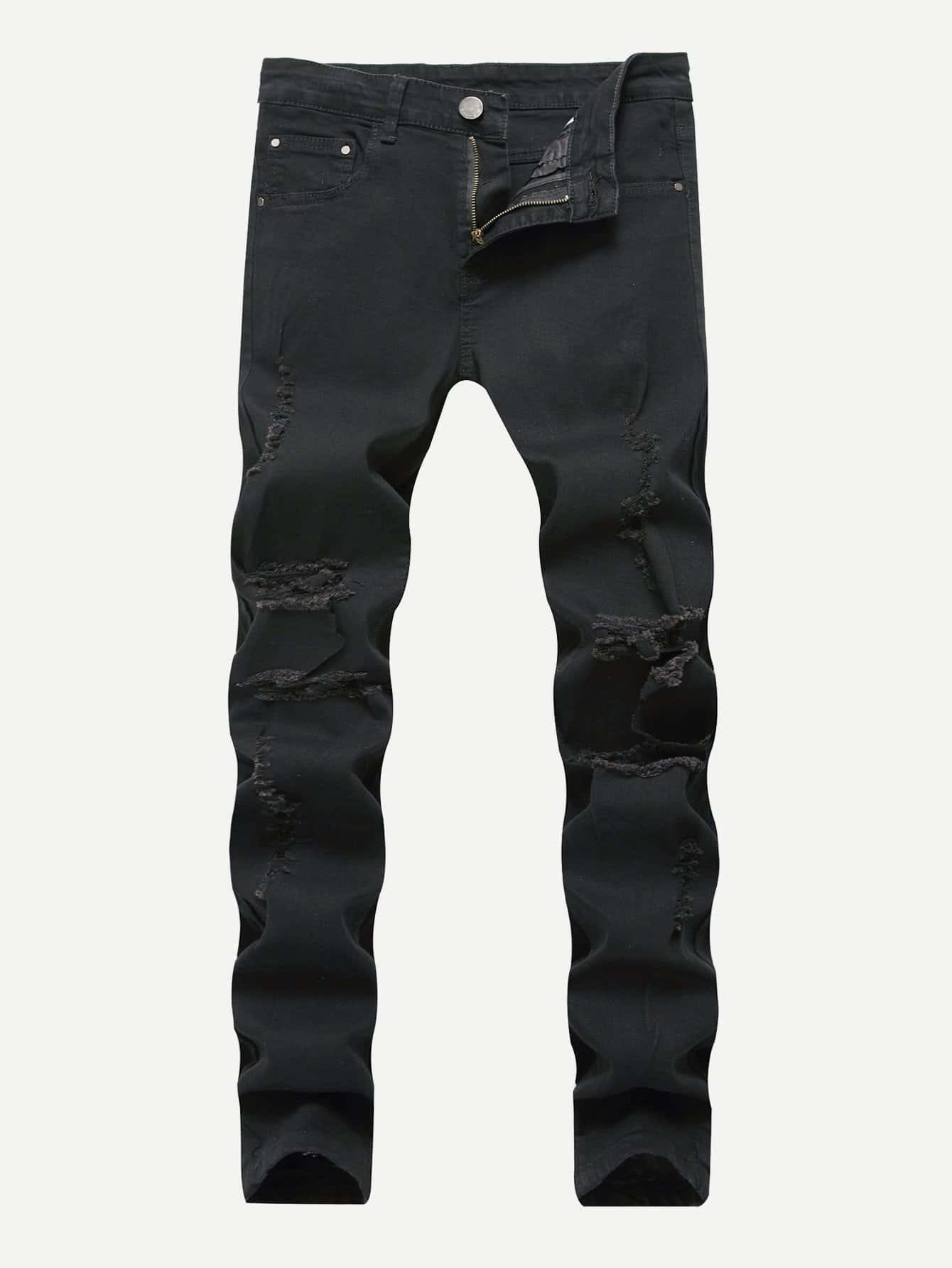 Men Rose Embroidery Skinny Destroyed Jeans купить