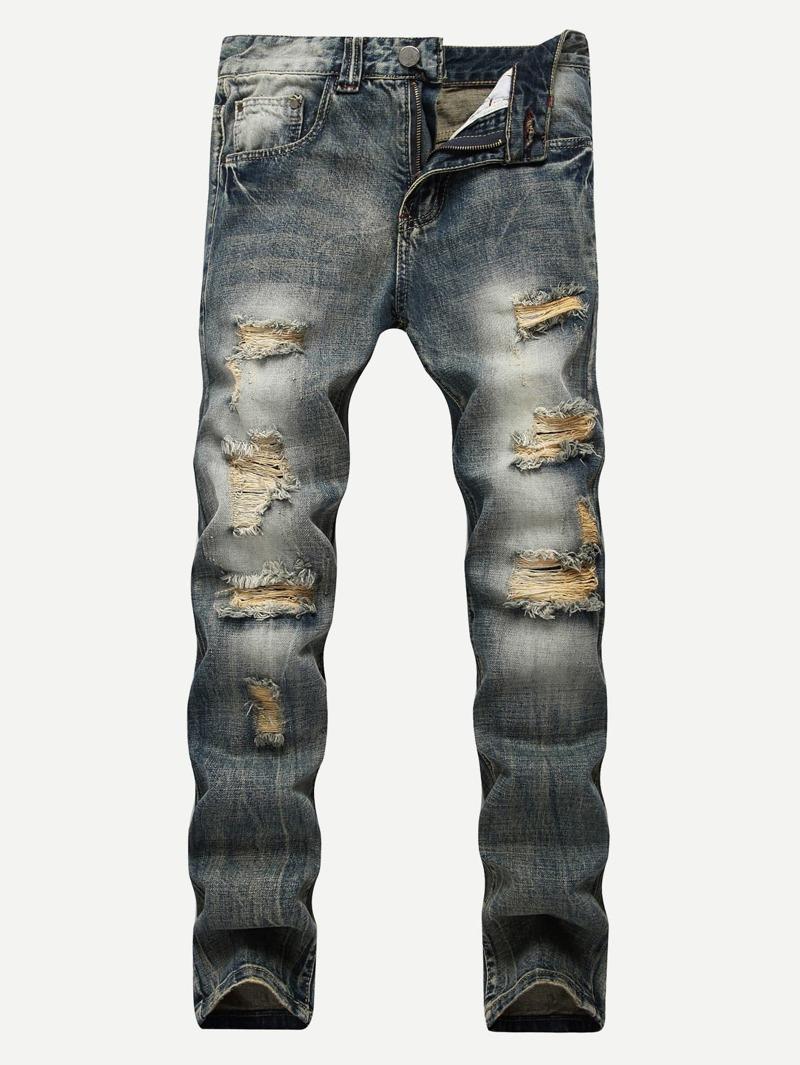 Men Make Old Destroyed Jeans, Blue