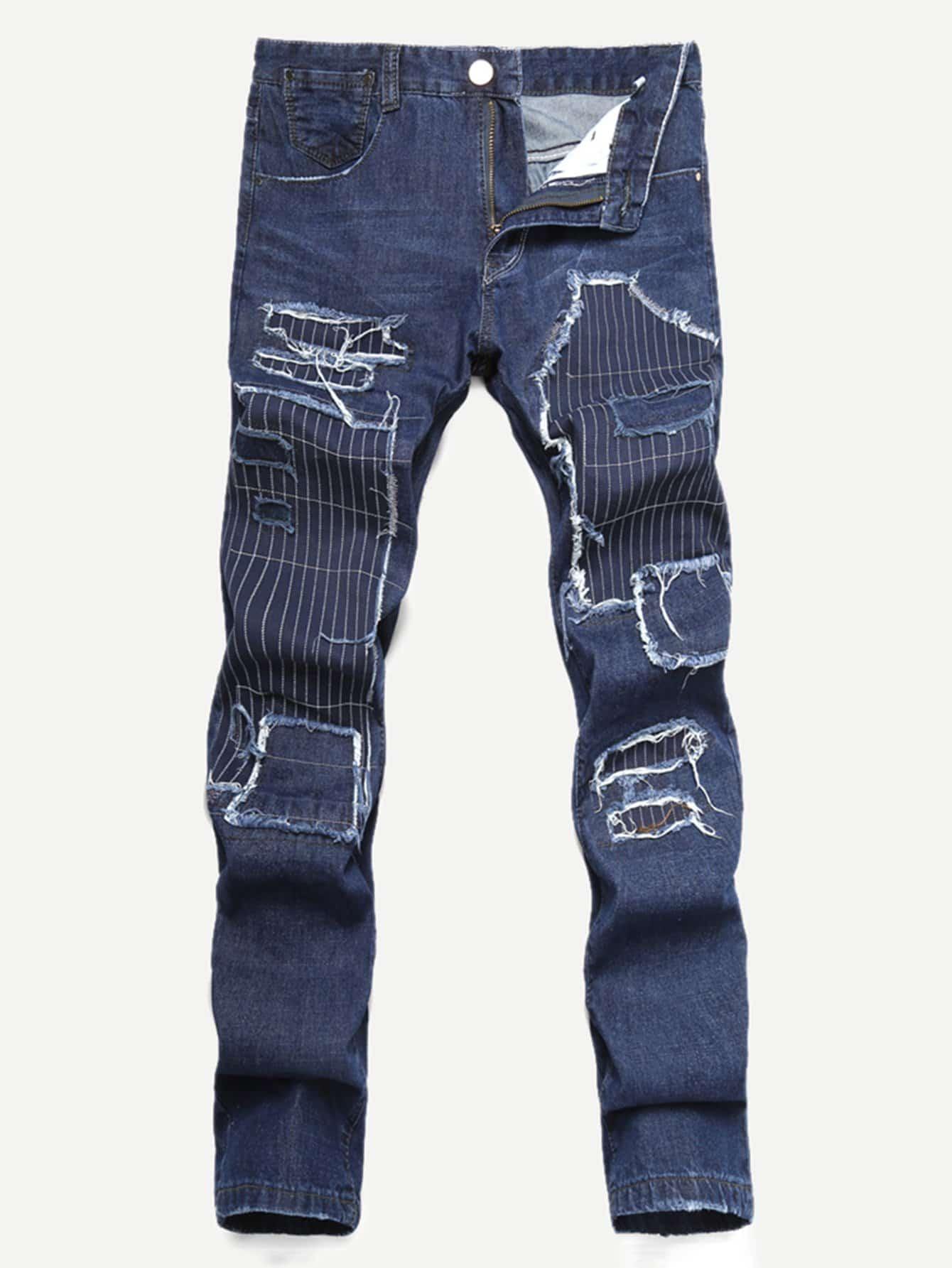 Men Patched Destroyed Jeans