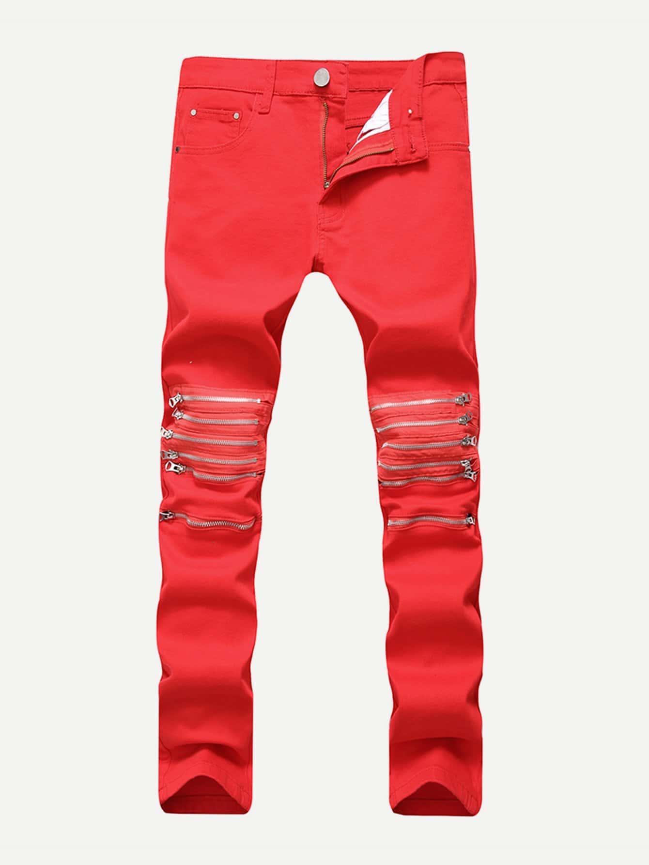 Men Zip Decoration Skinny Jeans men zip decoration skinny camo jeans