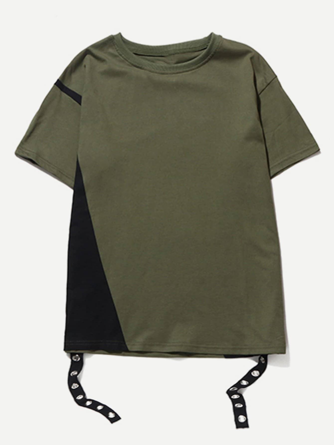 Men Zip Side Curved Hem Tee batwing sleeve pocket side curved hem textured dress