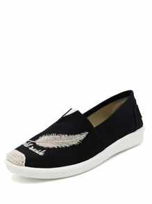 Feather Embroidery Slip On Sneakers