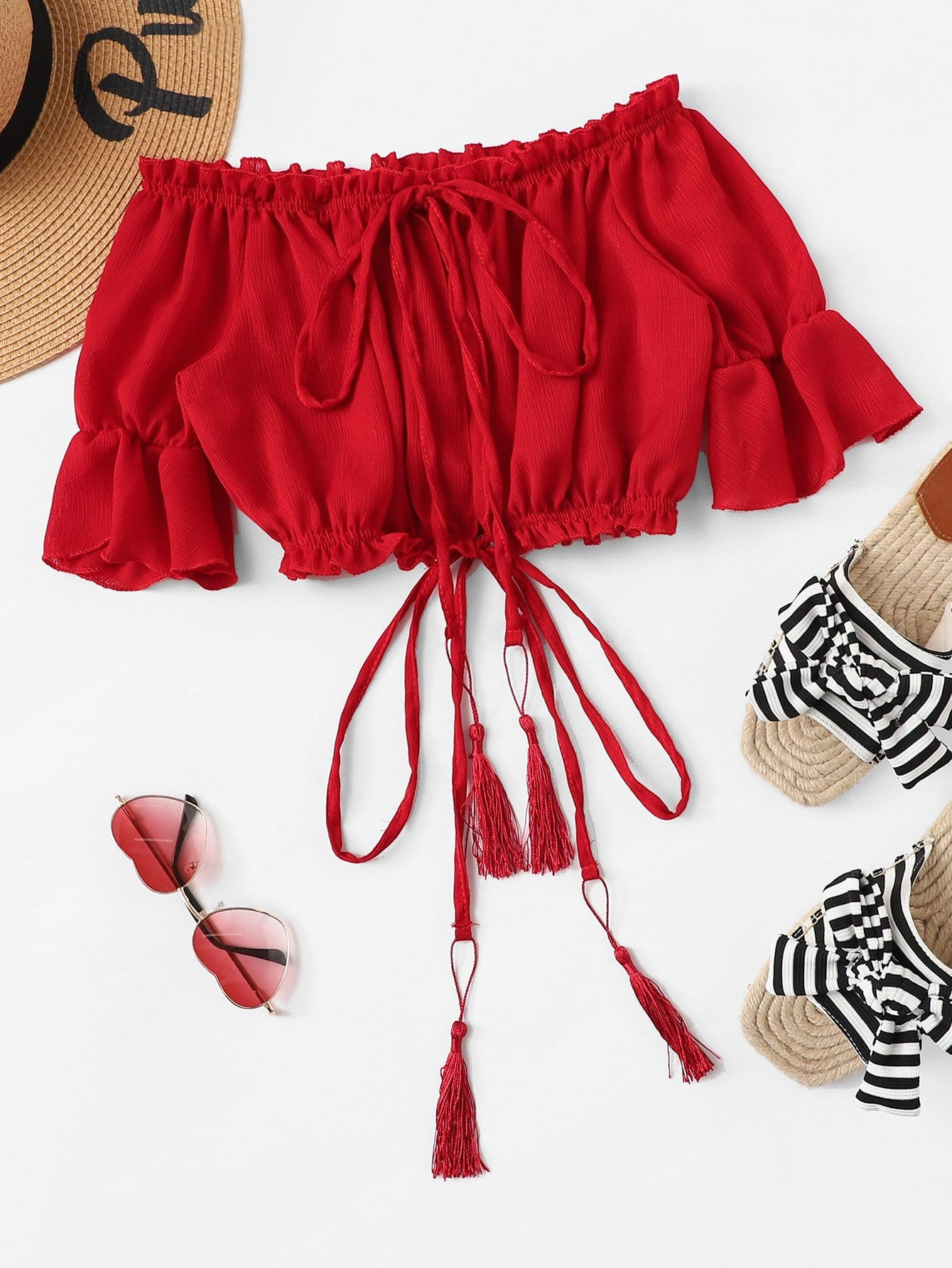 Купить Отпускнойстиль Одноцветный воротник-бант Бордовый Блузы+рубашки, null, SheIn