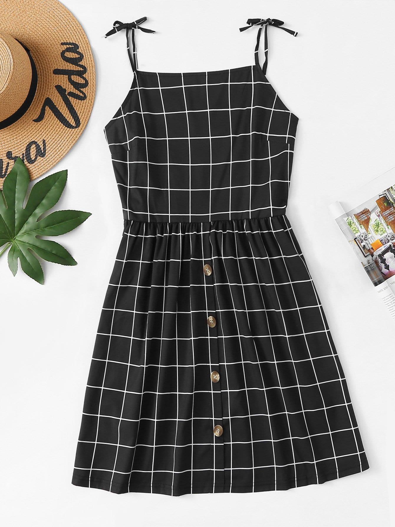 Button Detail Knot Shoulder Plaid Cami Dress