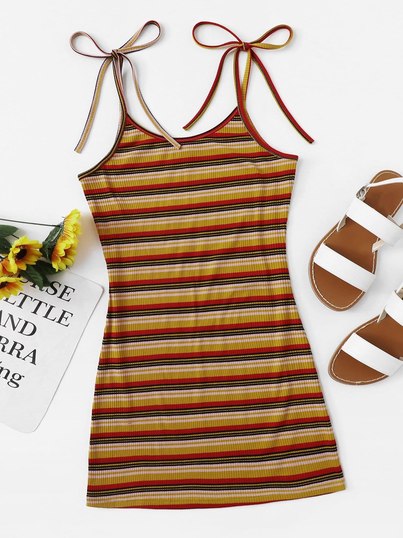 Colorful Striped Cami Dress