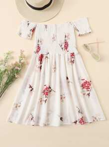 Floral Print Shirred Dress