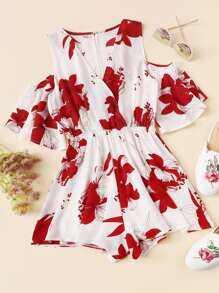 Floral Print Open Shoulder Romper
