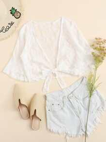 Lace Knot Hem Kimono