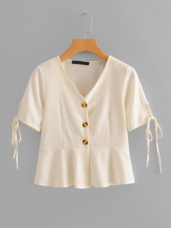 Tie Cuff Button Front Blouse tie cuff button front blouse