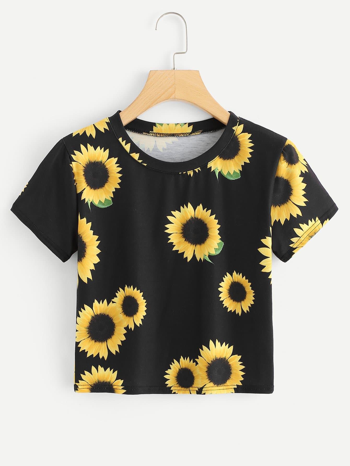Sunflower Print Crop Tee sunflower print crop tee