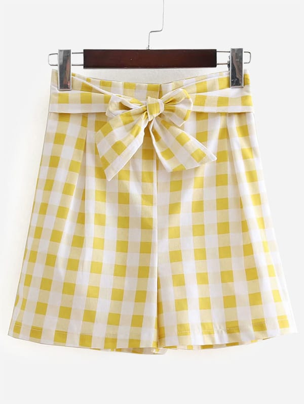Knot Front Gingham Shorts knot front gingham top