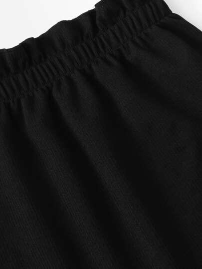 Frill Trim Knit Crop Top With Skirt
