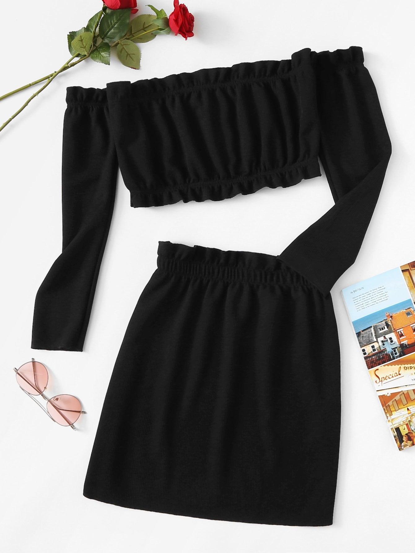 Купить Повседневный стиль Ровный цвет Оборка Черный Комплект, null, SheIn
