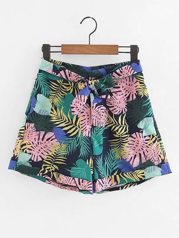 Foliage Print Knotted Shorts apple планшет apple ipad pro 10 5 256gb wi fi cellular gold золотистый