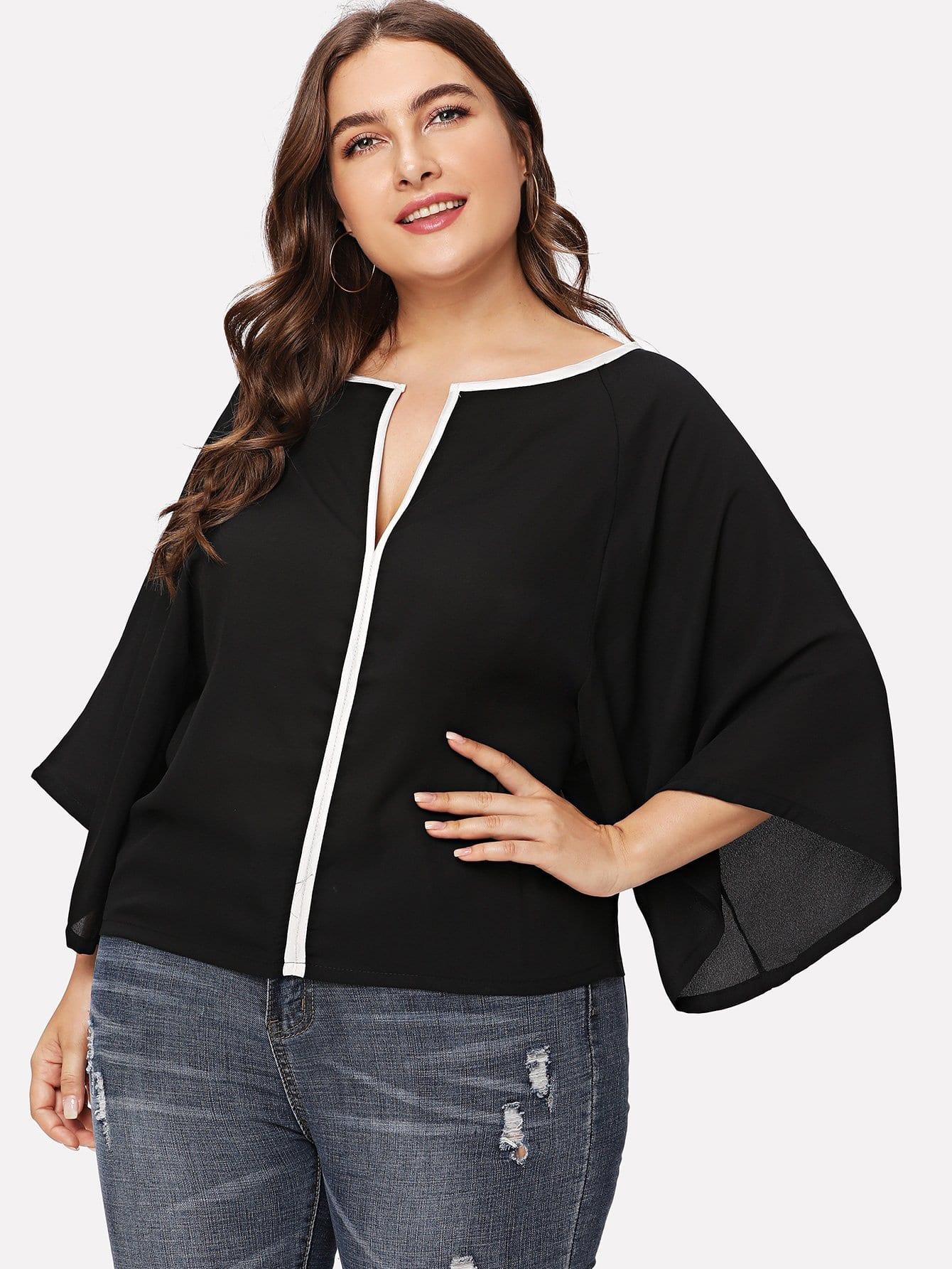 Plus Contrast Trim V Neckline Blouse contrast striped v neckline flute sleeve blouse