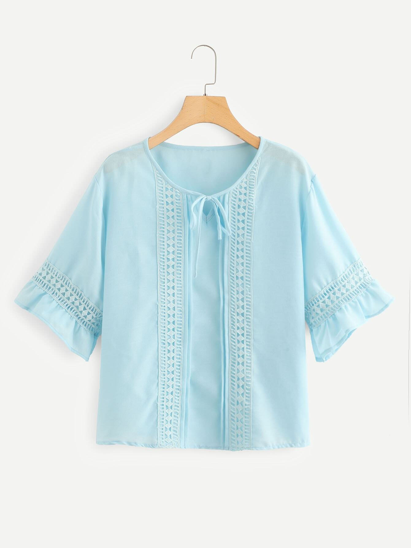 Plus Cut Out Tie Neck Blouse цена