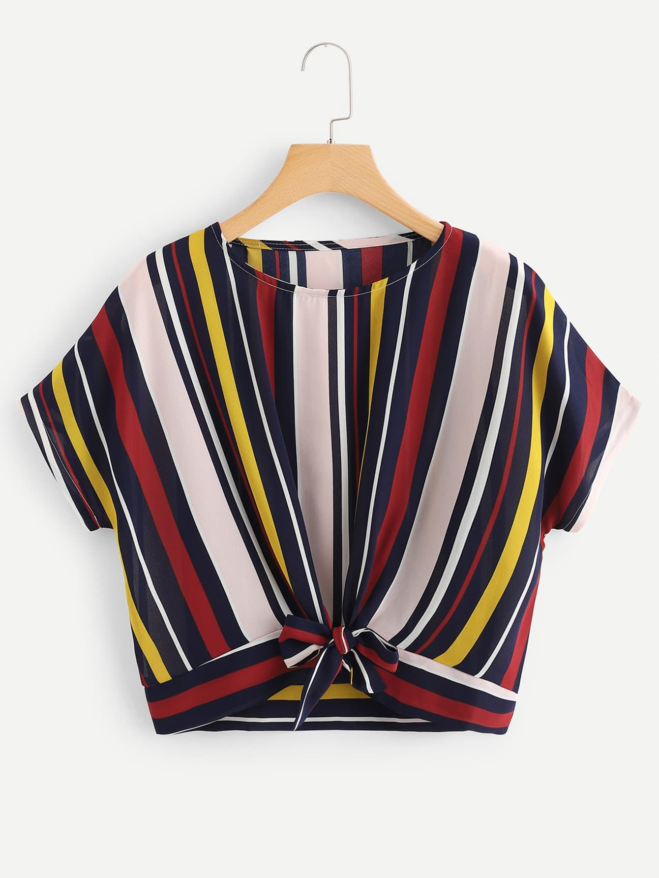 Knot Hem Striped Blouse stylish slim dress hem blouse