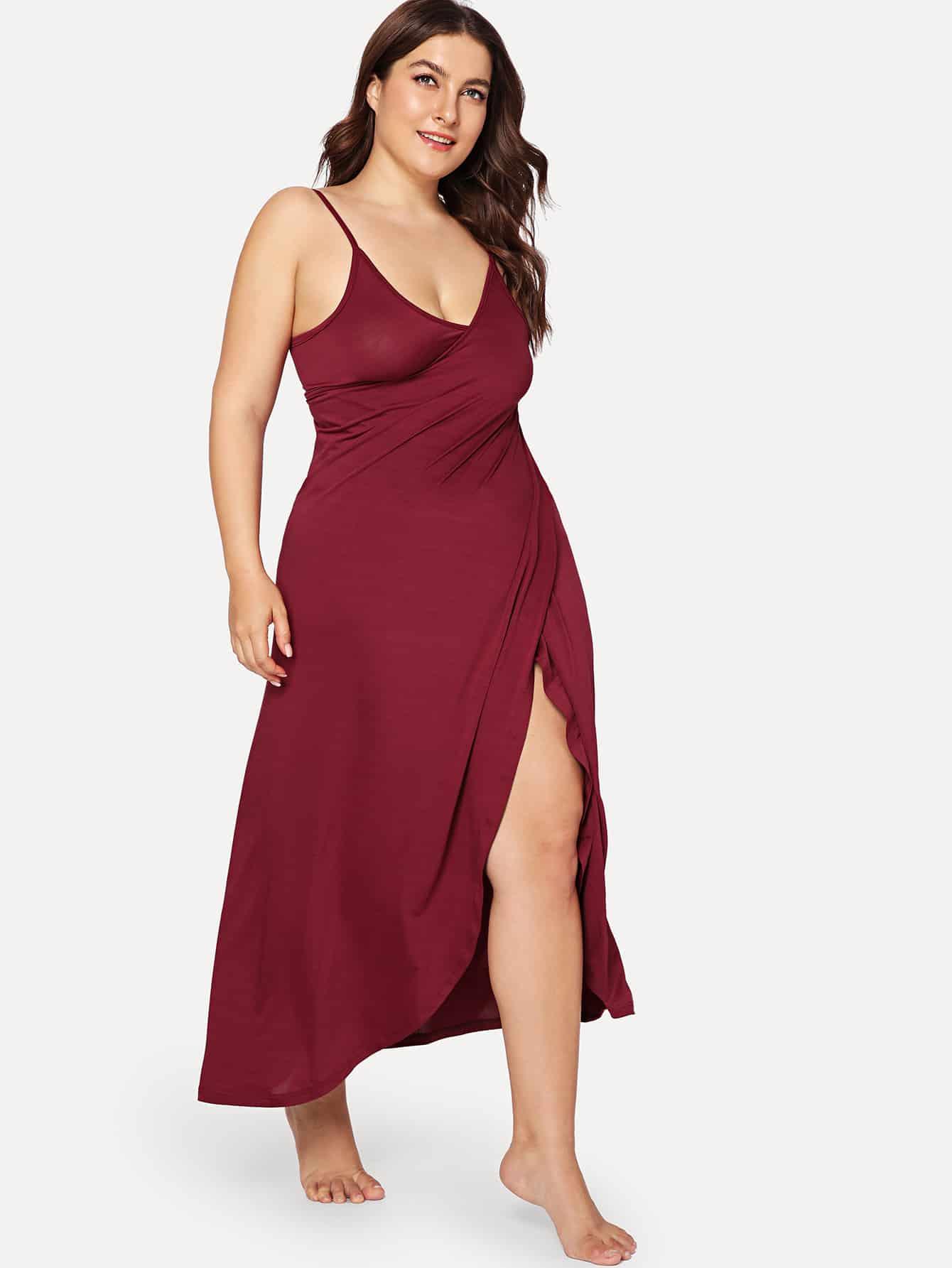 Split Hem Wrap Cami Dress solid split hem cami dress