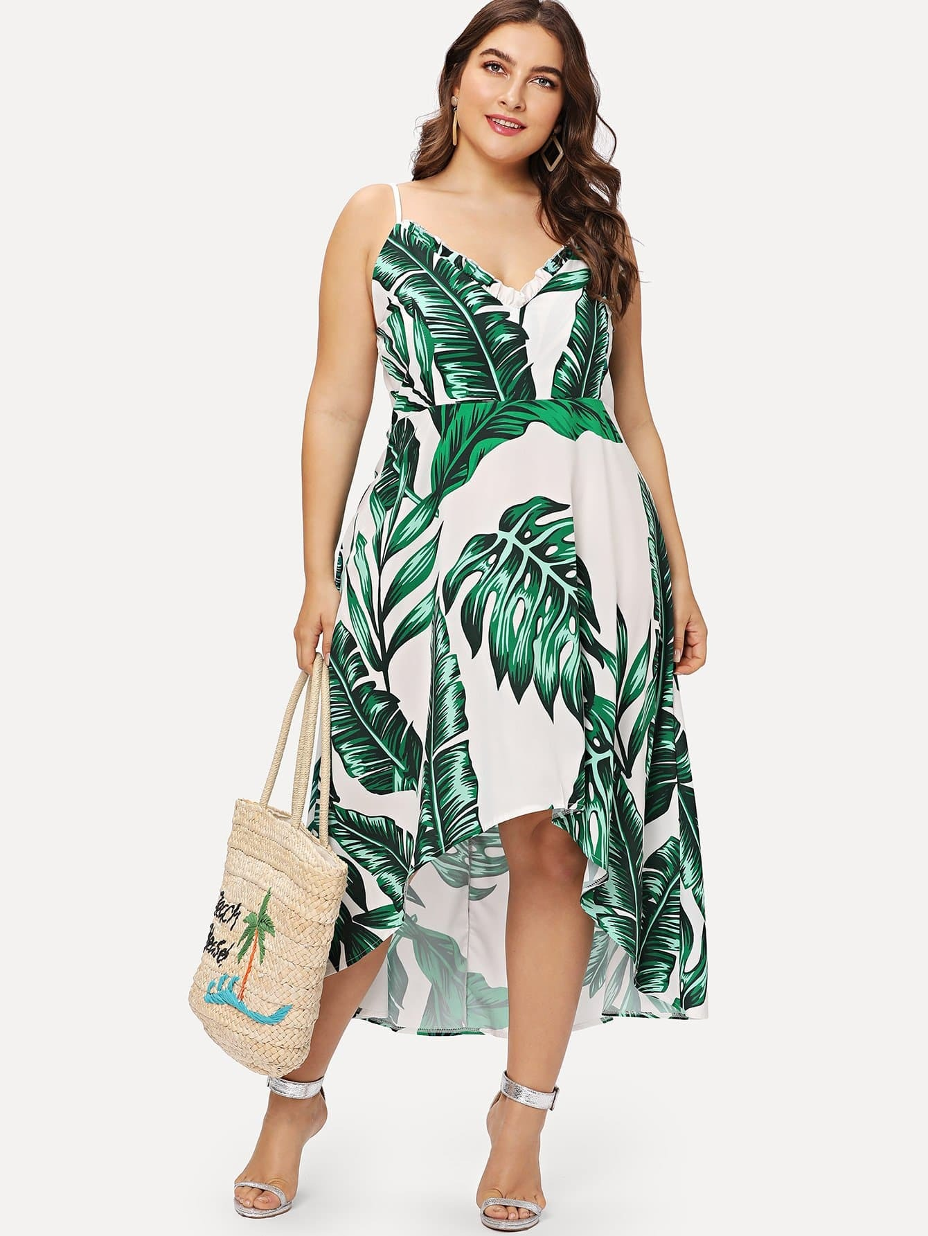 Plus Tropic Print Dip Hem Dress