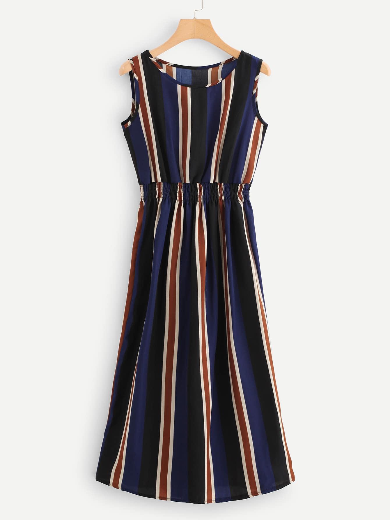 Купить Платье с эластичным поясом и полосками, null, SheIn