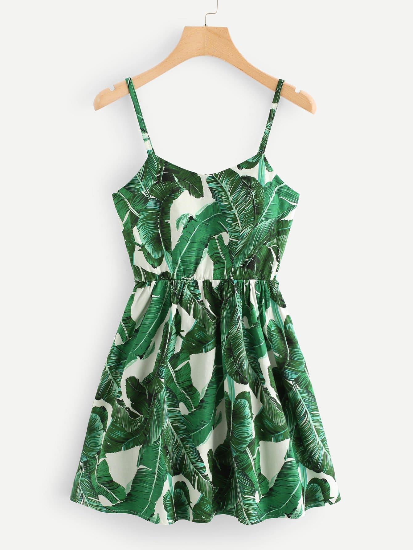 Купить Платье со шнурком и принтом тропики, null, SheIn