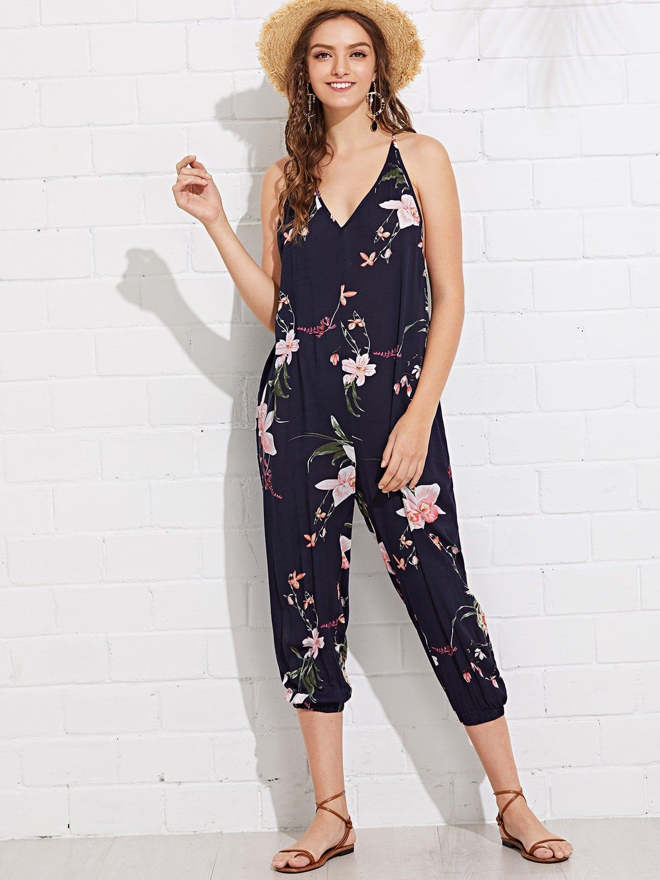 Floral Print Split Back Jumpsuit floral print split hem jumpsuit