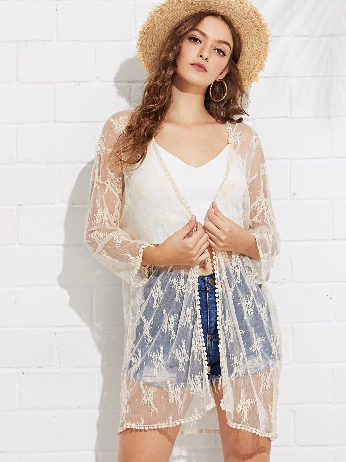 Crochet Trim Sheer Lace Kimono lace trim overknee sheer stockings