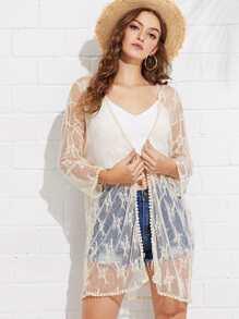 Crochet Trim Sheer Lace Kimono
