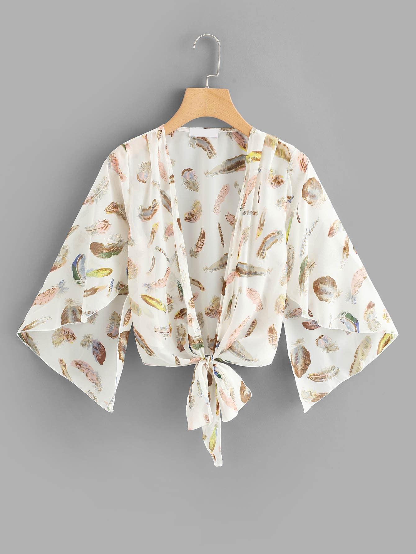 Feather Print Knot Hem Kimono knot hem star print kimono